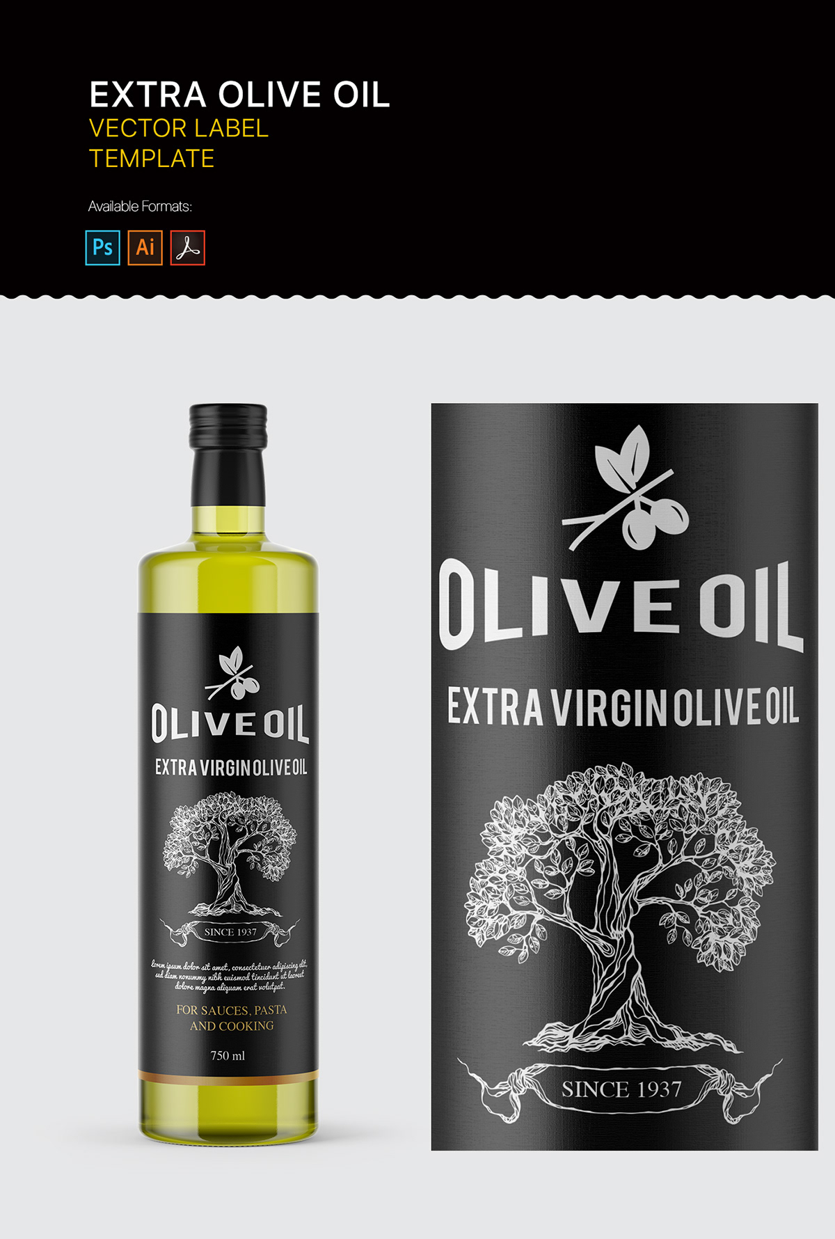 Extra olive oil label template on Pantone Canvas Gallery