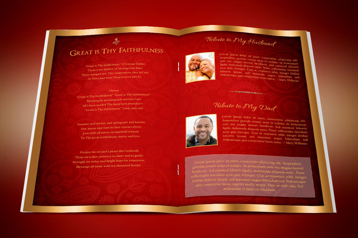 Red gold dignity funeral program publisher template on behance.