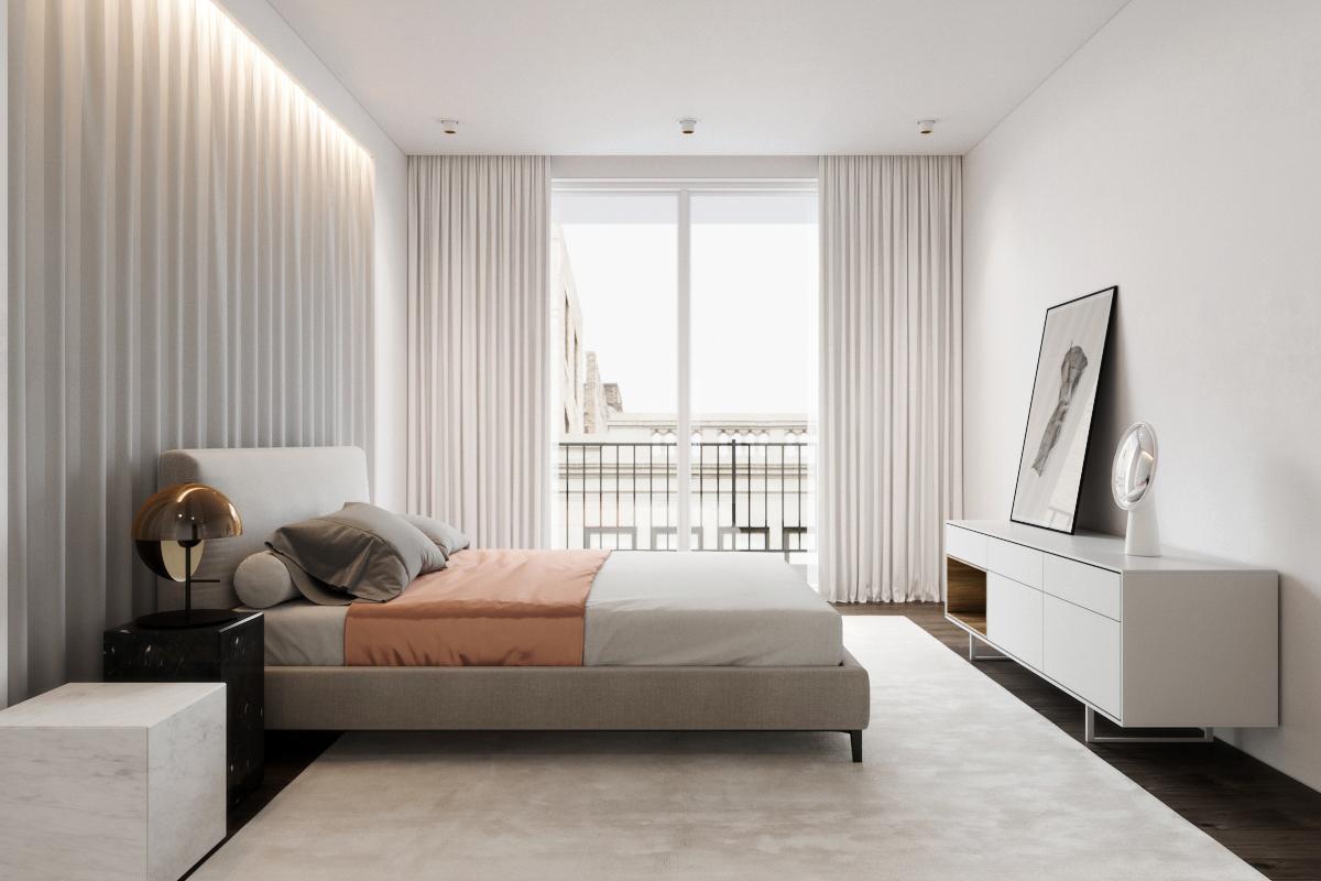 White apartment soft kitchen bathroom minimal 3D decor