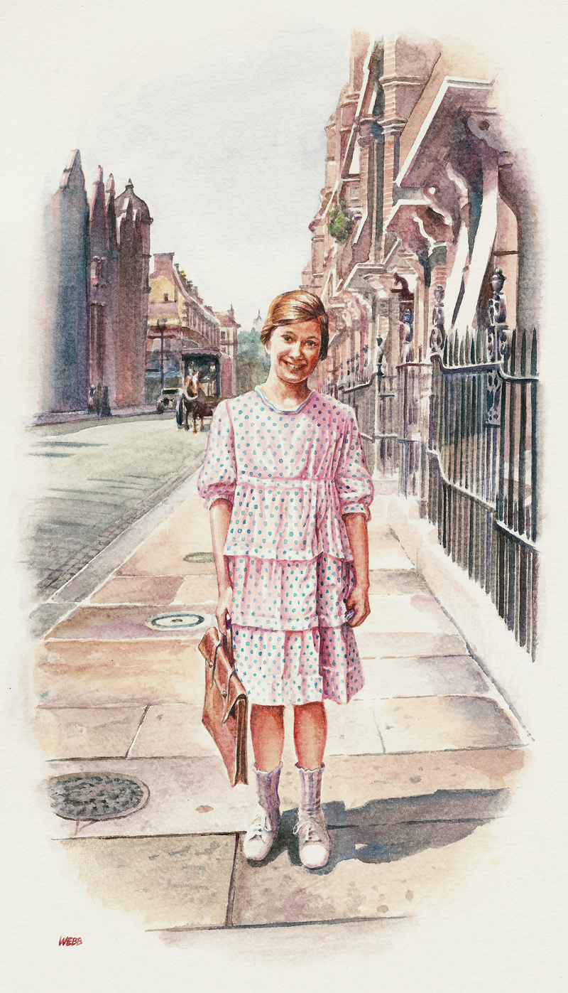Watercolour portrait of young girl going to her piano lesson