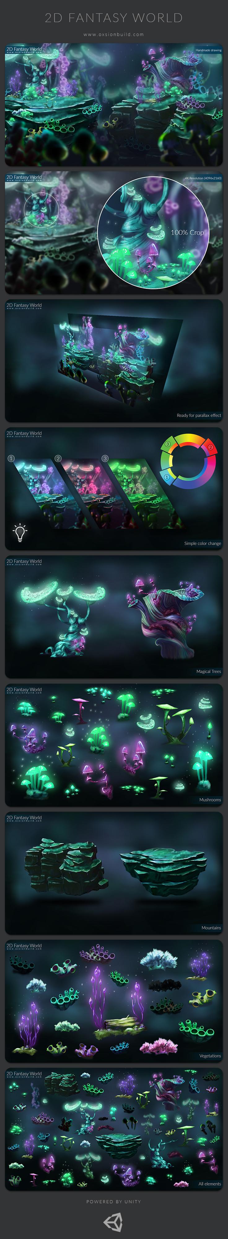 2D Fantasy World Ori platformer fantastic environment fairy Magical Painted handmade Drawing