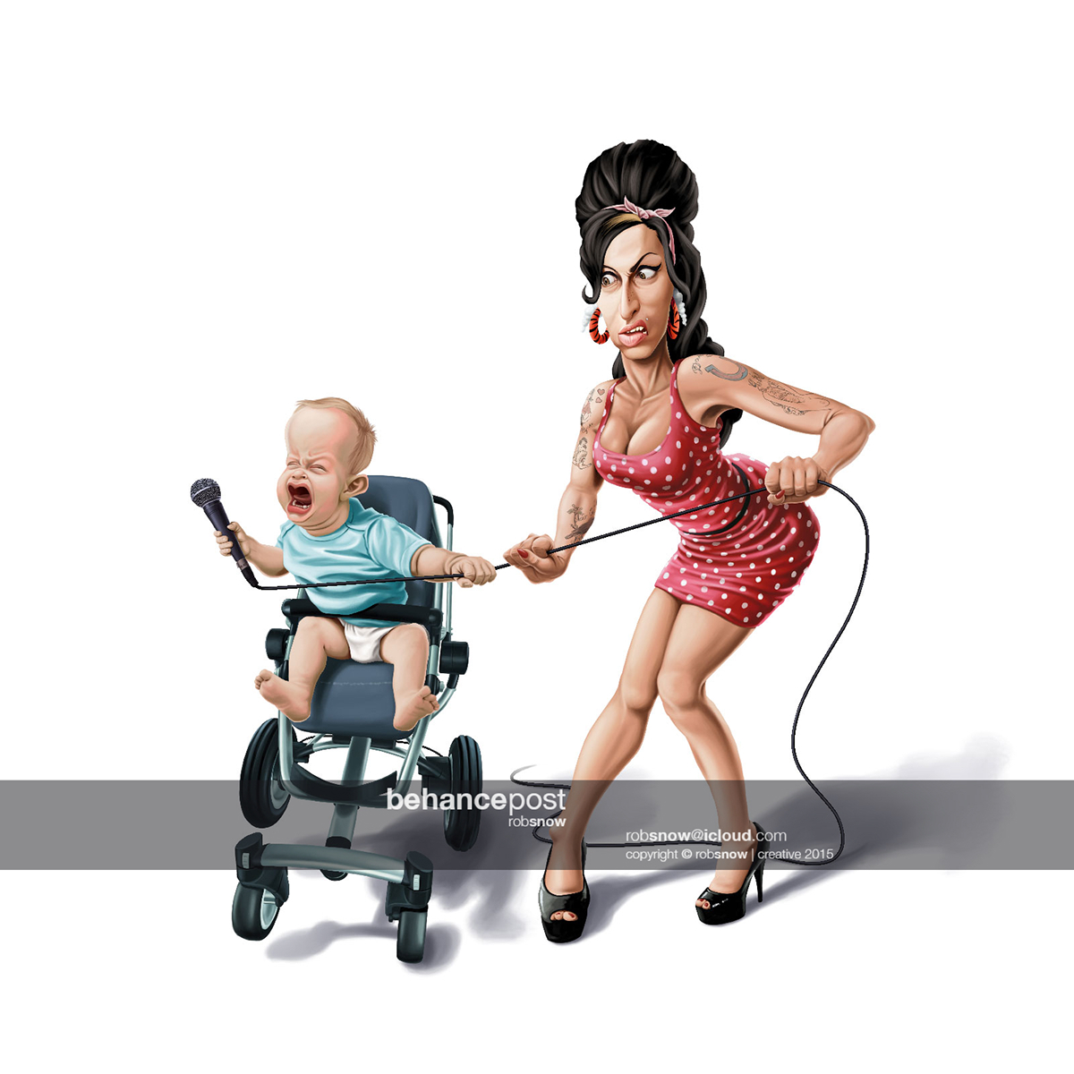 amy winehouse blackninja Michael Jackson noise sound caricatures dress baby advert Musical Singing dog