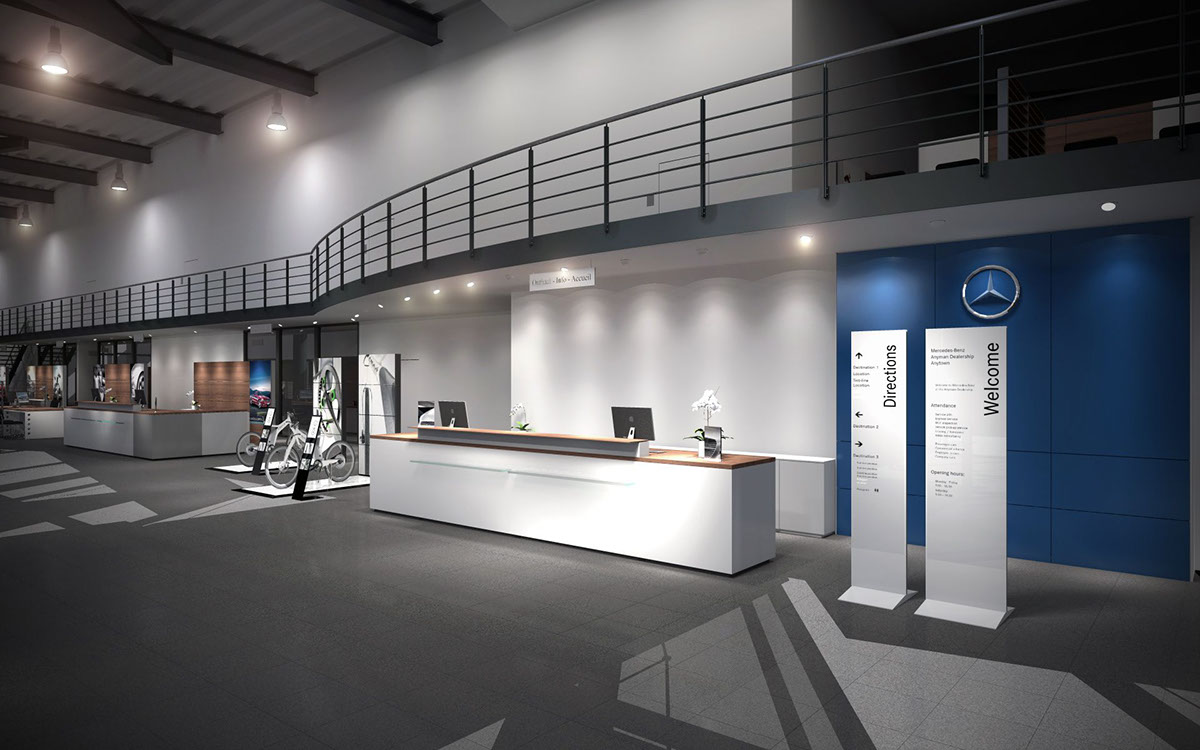 Showroom interior concept for mercedes benz belgium on behance for Mercedes benz showroom near me