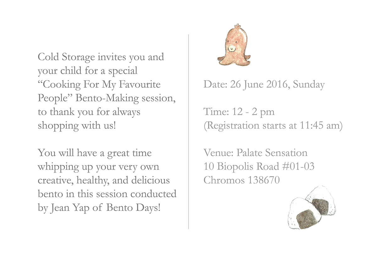 Bento making workshop invitation for cold storage on student show drawing graphic design illustration stopboris Images