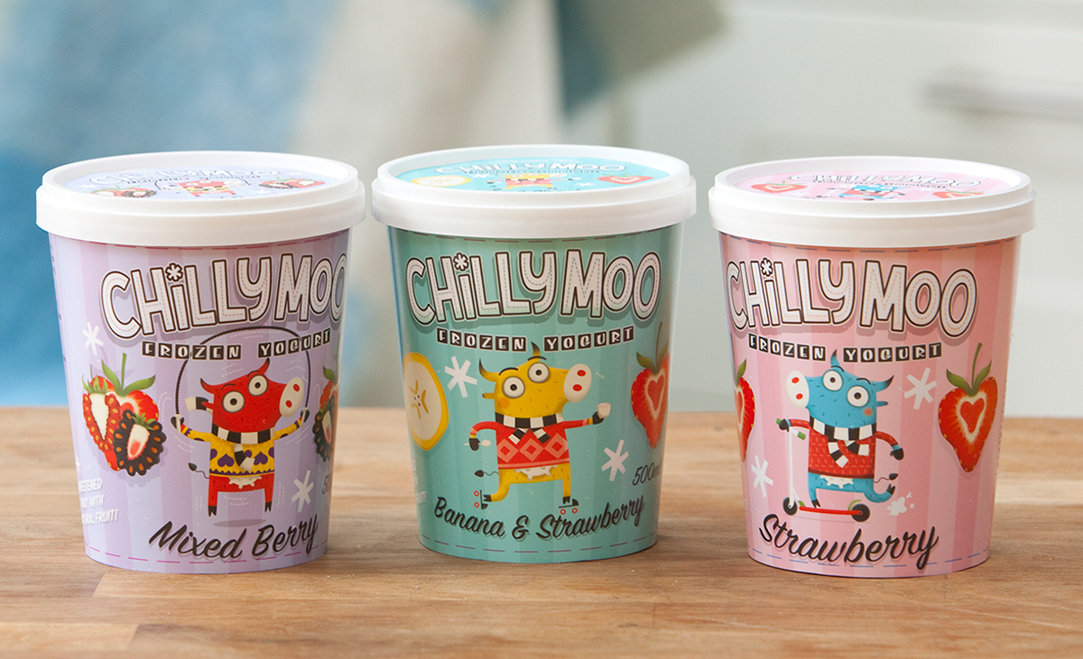 illustrated pots yogurt chilly moo cows frozen Retro HAND LETTERING sketches Fruit strawberrry berries banana illustratorsireland