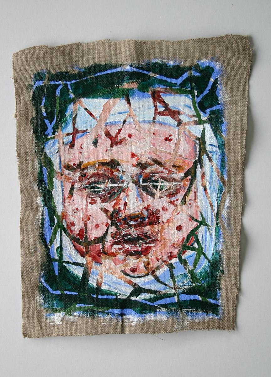 body Human Body acrylic canvas linen figurative figure medical history death Disease suffering five blue marks darkart children scrofula