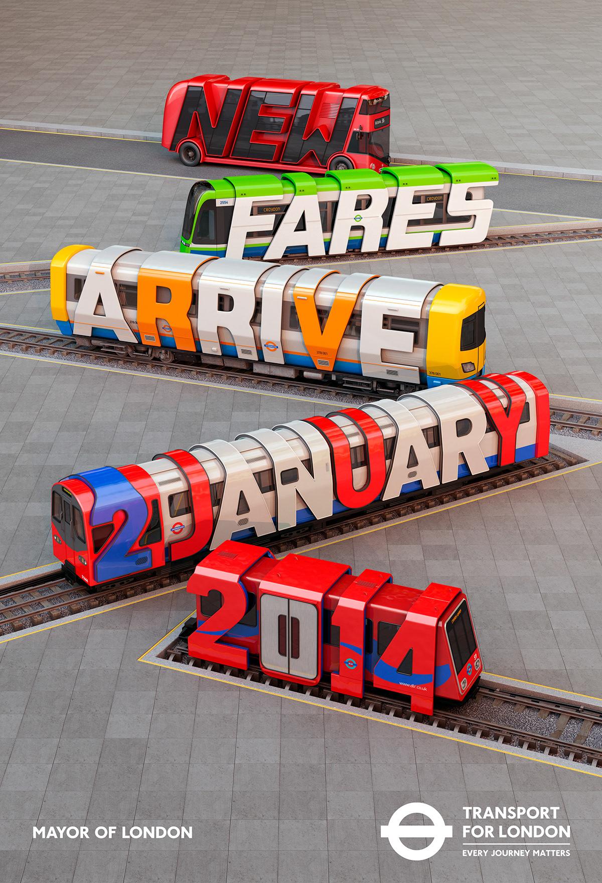 london transport london underground Railways 3D CGI poster new fares 3D typography 3D lettering