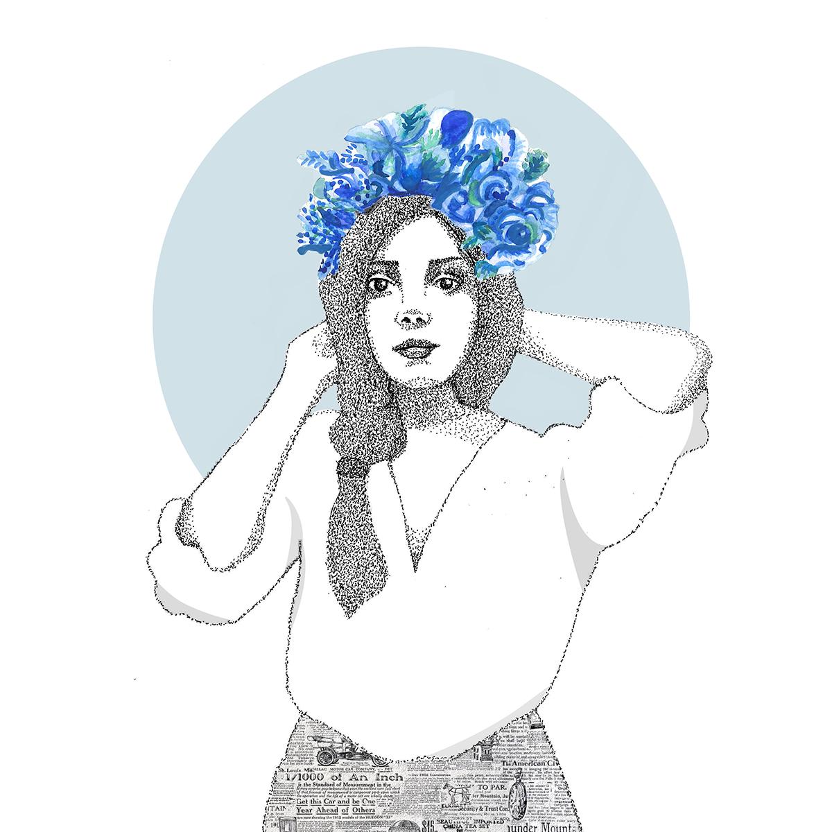 Illustation photoshop collage portraits Flowers graphic design  Creativity textures Fashion  women