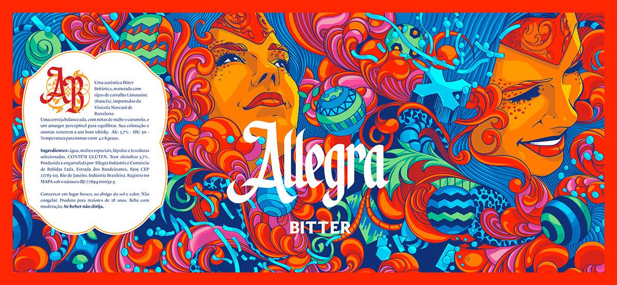 design direction Label beer Brazil Carnaval colorful festive