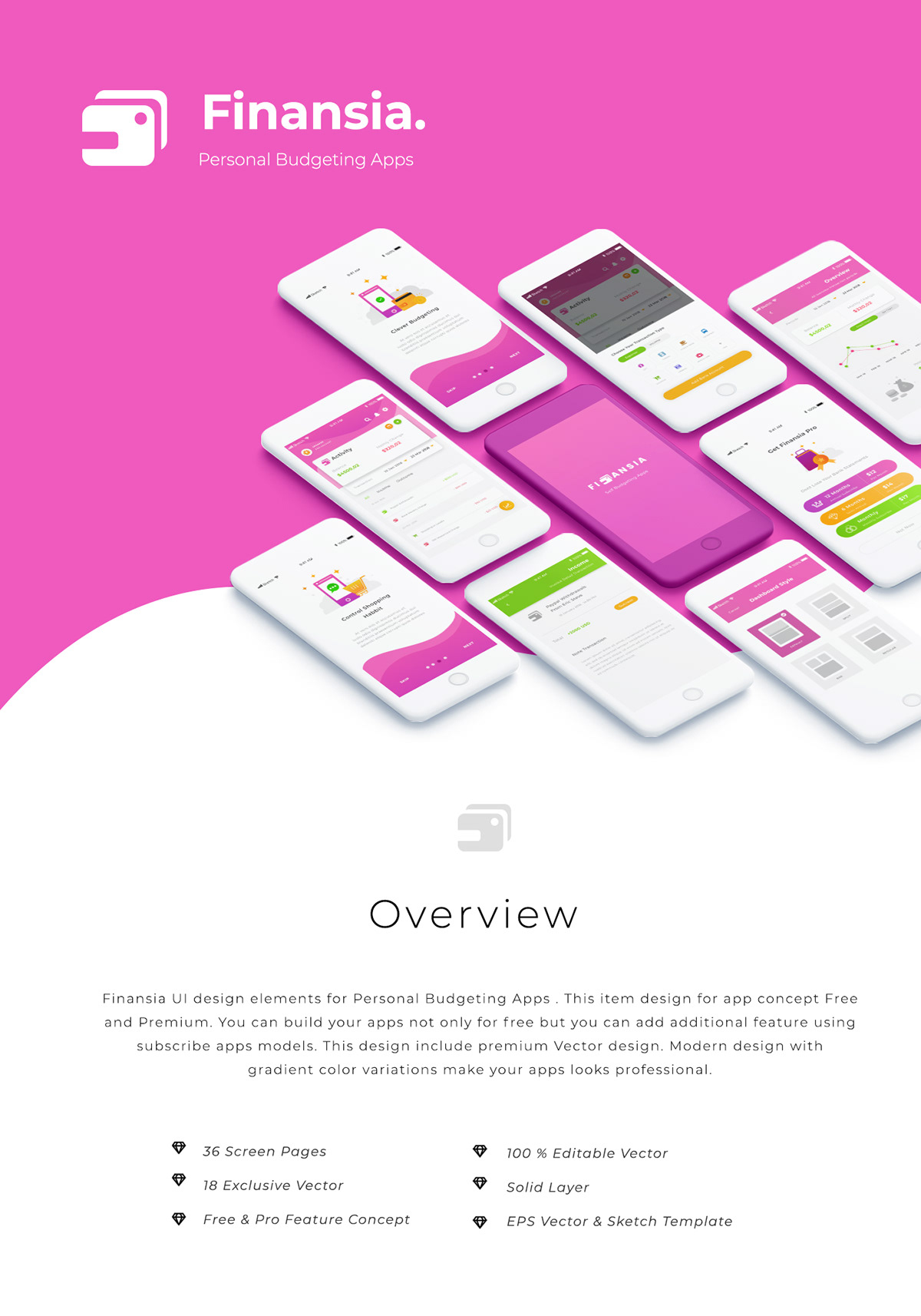 finansia personal budgeting apps ui kits on pantone canvas gallery