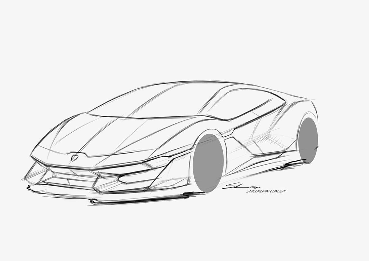 Free Sketch Lamborghini On Behance
