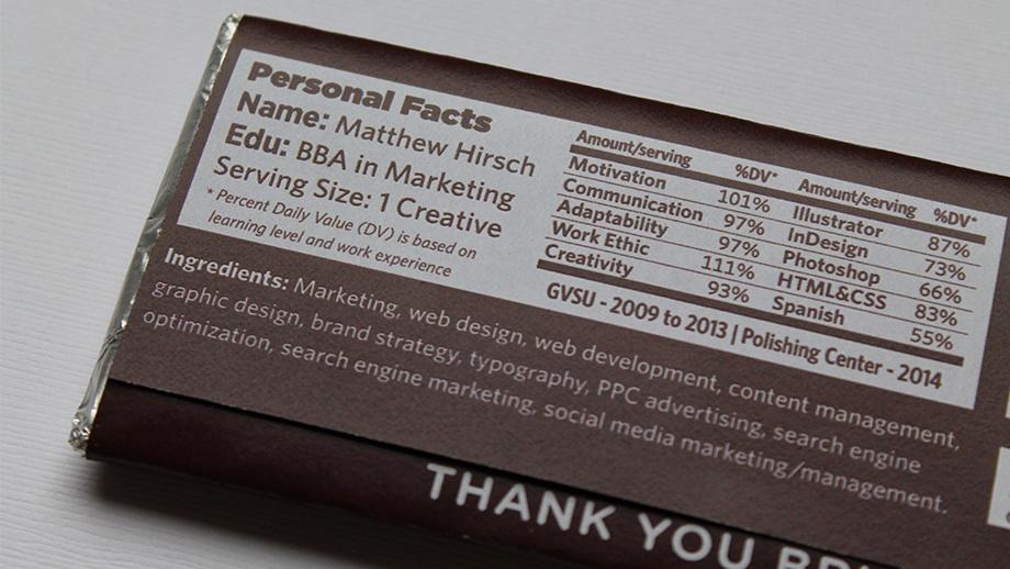 hershey hirschy bar chocolate thank You thank you thankyou Resume creative student matthew hirsch