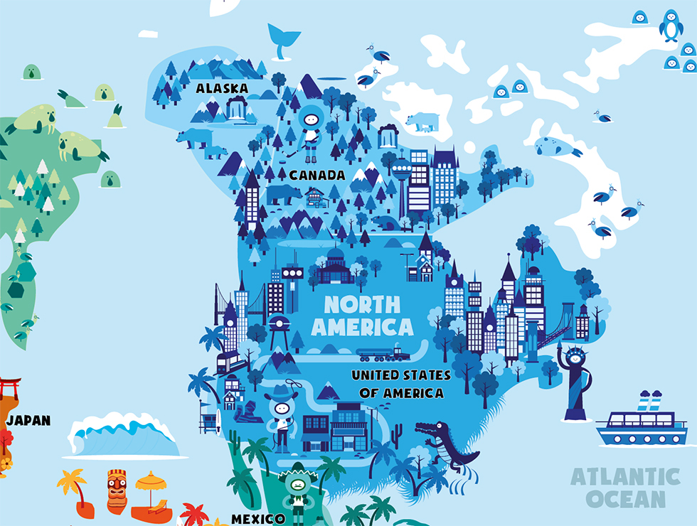 World map on behance i made this illustrated world map for smart art education based in new zealand it will go to local schools and is available for sale on their website gumiabroncs Image collections