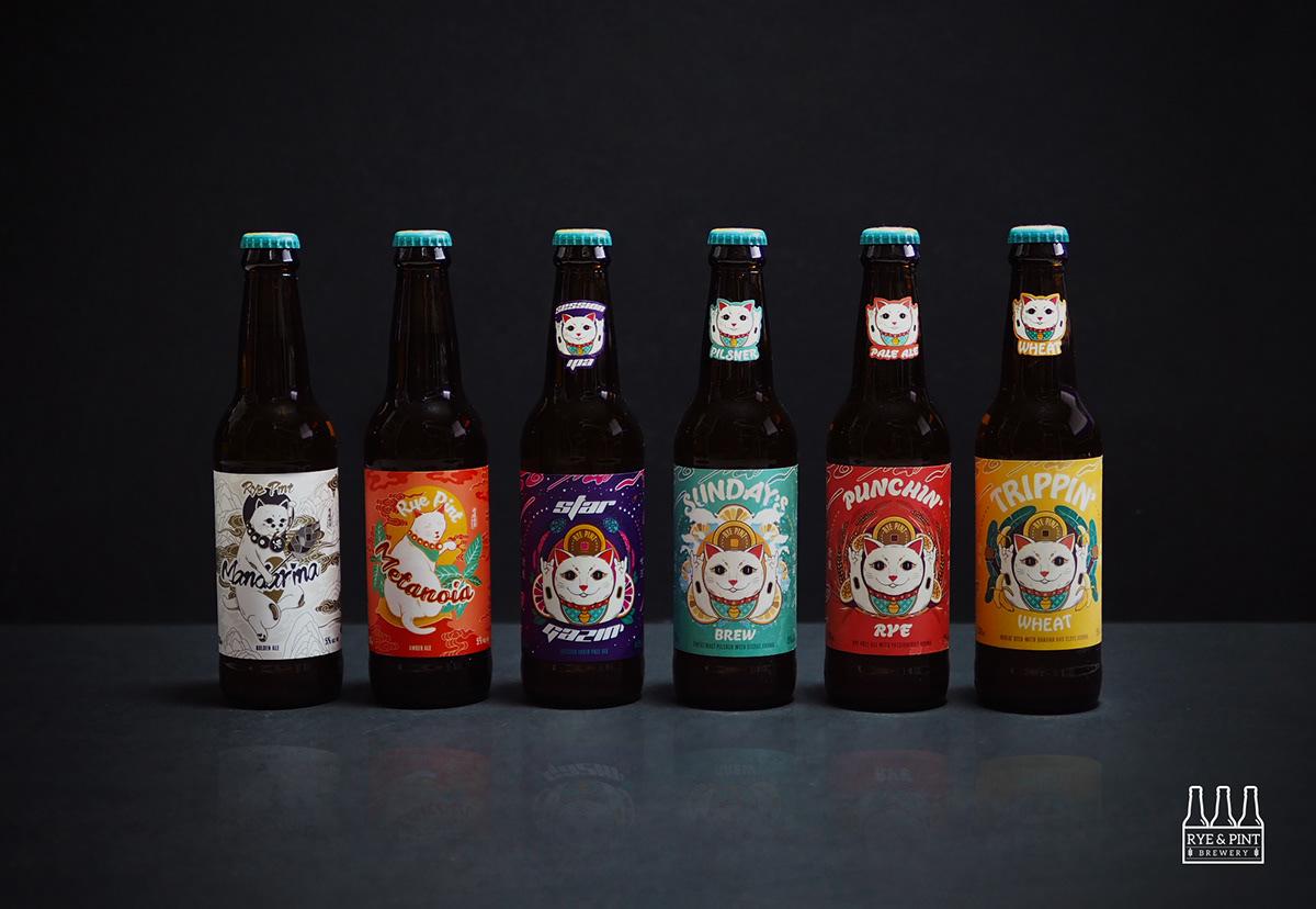 beer labels craft beer Fortune cat Cat ILLUSTRATION