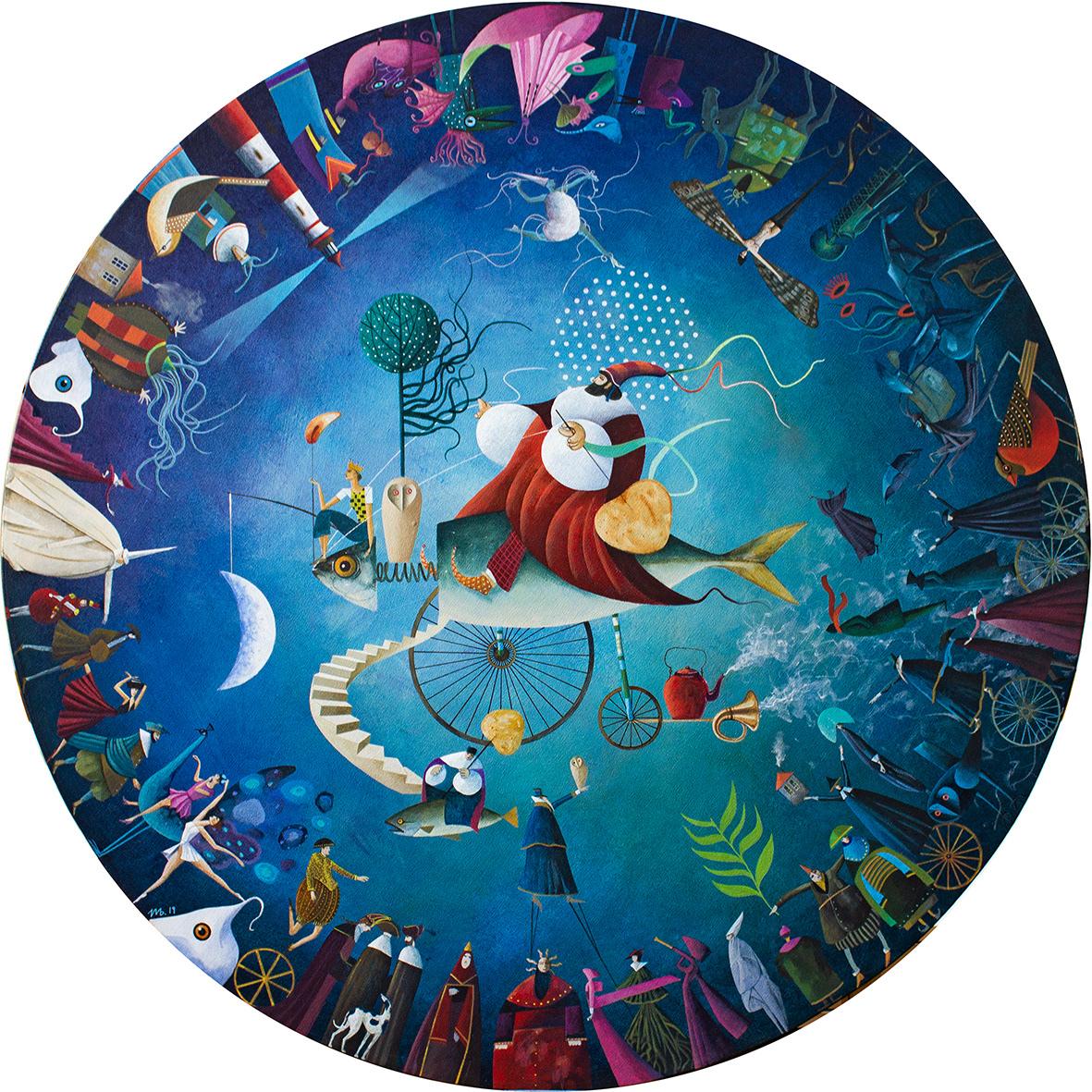 dream,circle,blue,ILLUSTRATION ,painting  ,fantasy,paint,Drawing ,acrylic,Illustrator