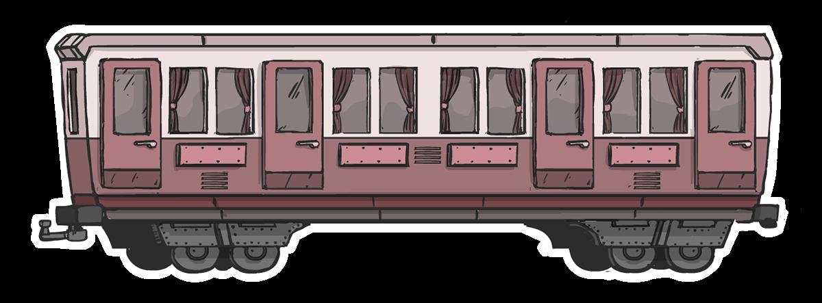 ILLUSTRATION  vector carriage railway comic stylized