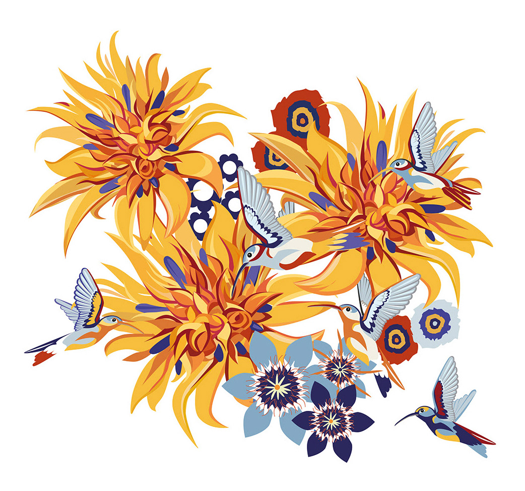 Flowers furniture hotel hummingbirds ILLUSTRATION  lounge Pool Bojana Knezevic pattern vector