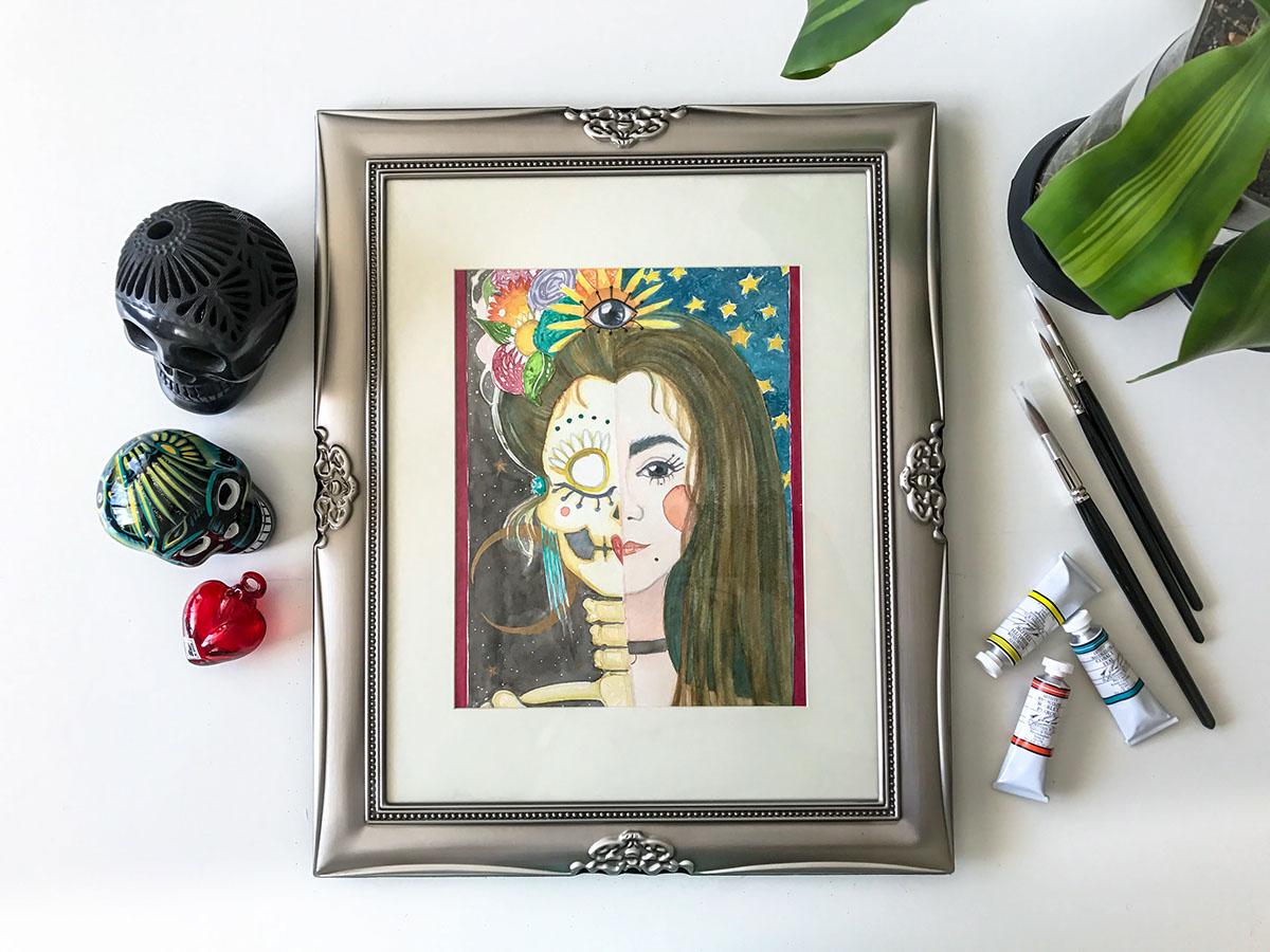mexico Dia De Muertos catrina skull portrait gold art arte tijuana watercolor
