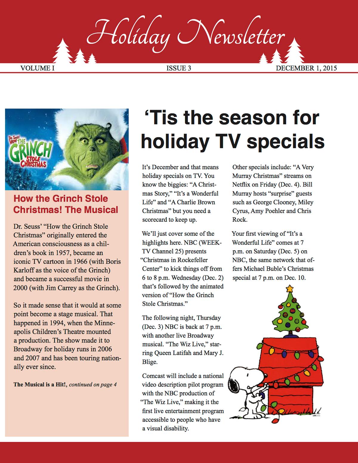 Holiday Newsletter on Behance