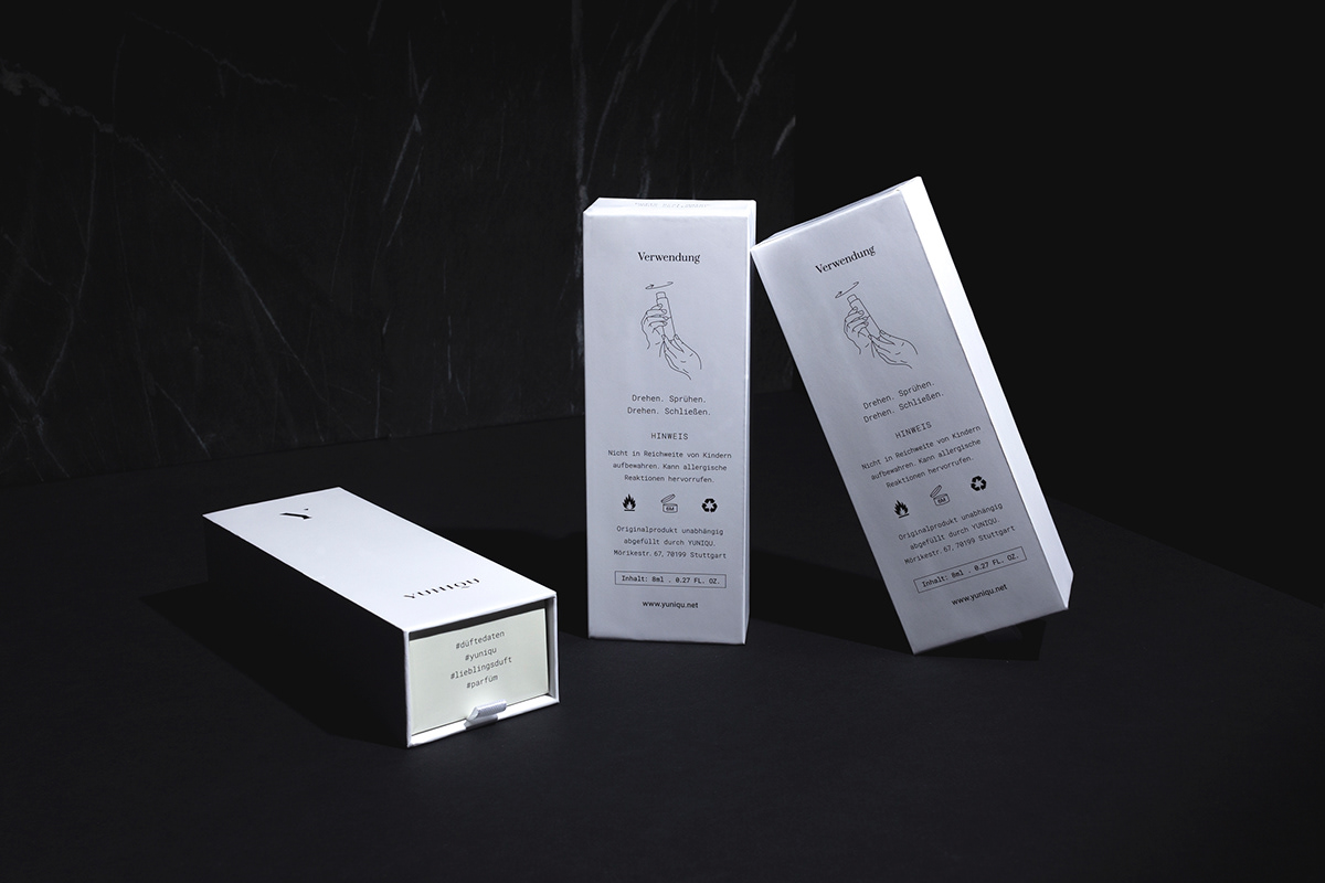 Fragrance subscription parfum product package box Classic Noble contemporary minimalistic