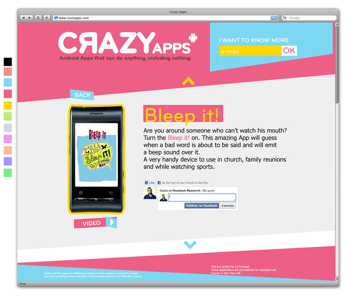 LG Crazy Apps on Behance