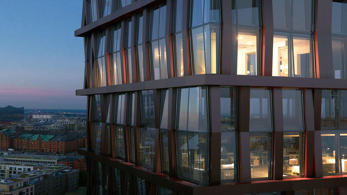 hamburg lichtecht tower skyline highrise 3d Visualisation vray