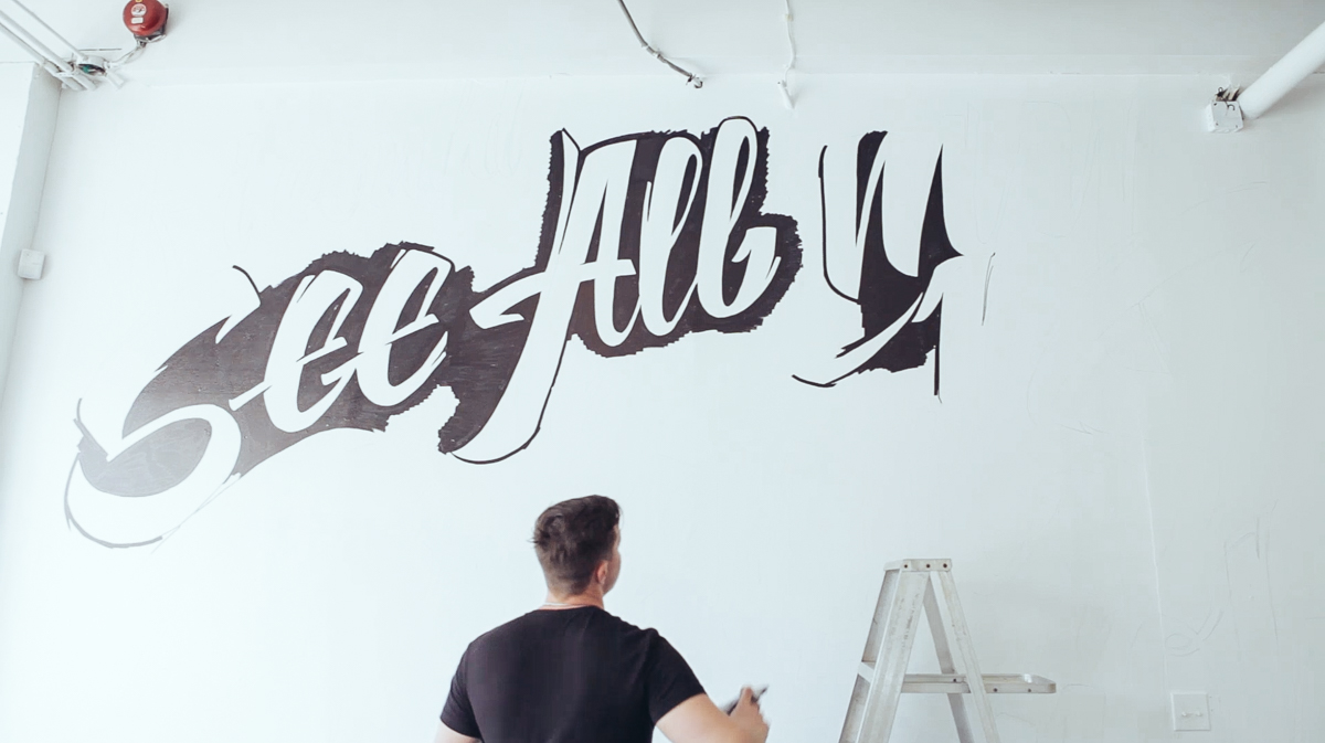Vitaly lettering mural and making of for Mural lettering