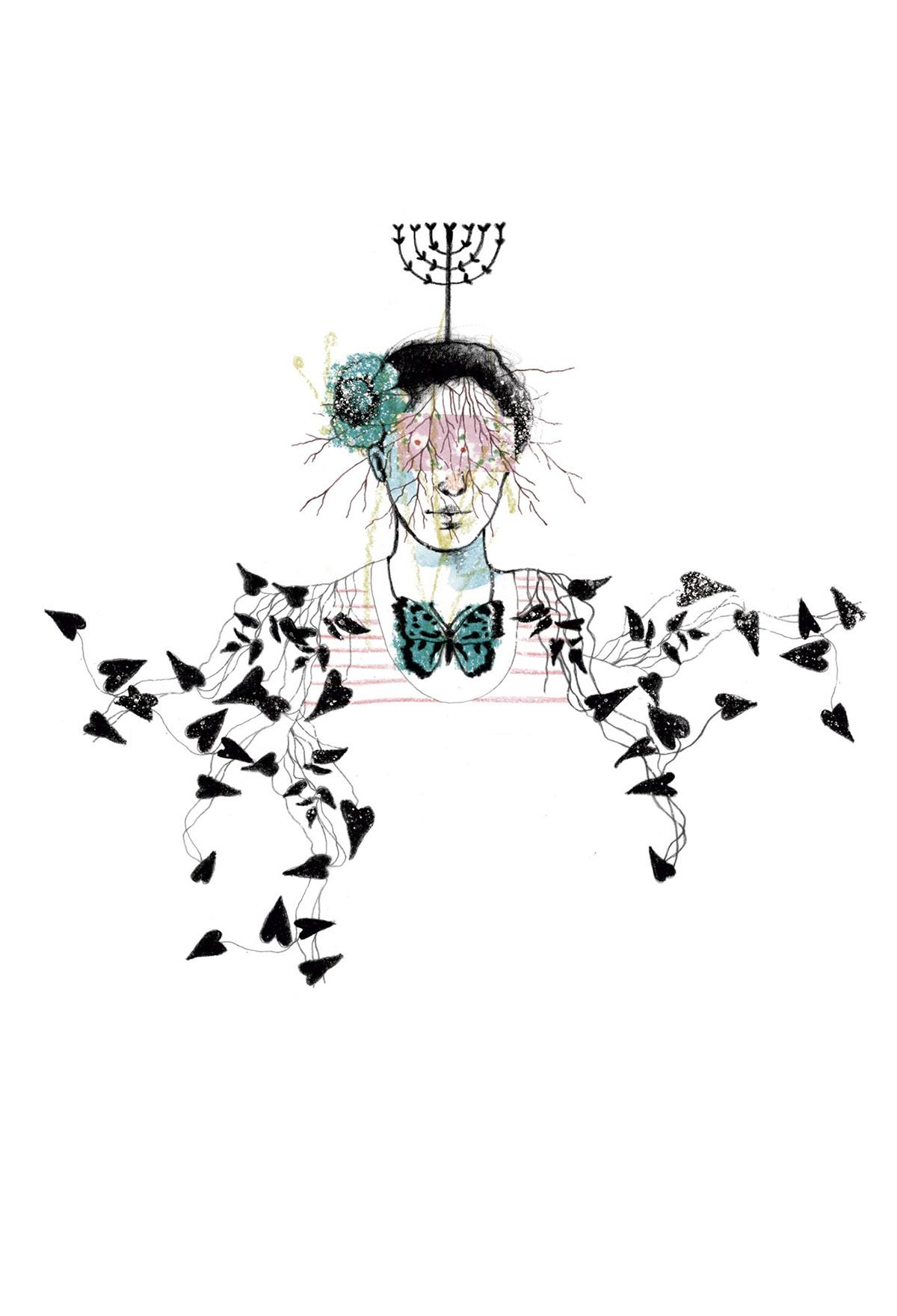 collage ilustracion lapiz tintas