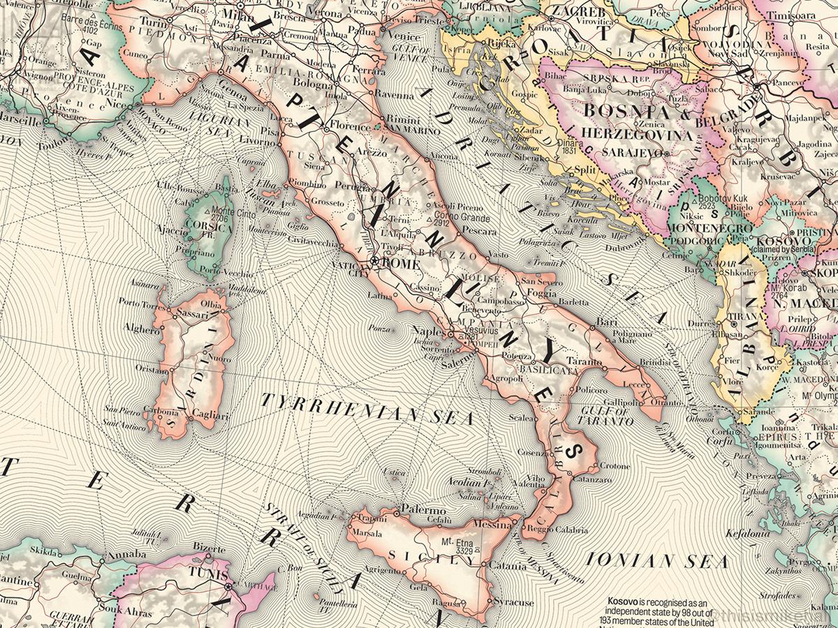 map map design cartography Europe map print antique Retro