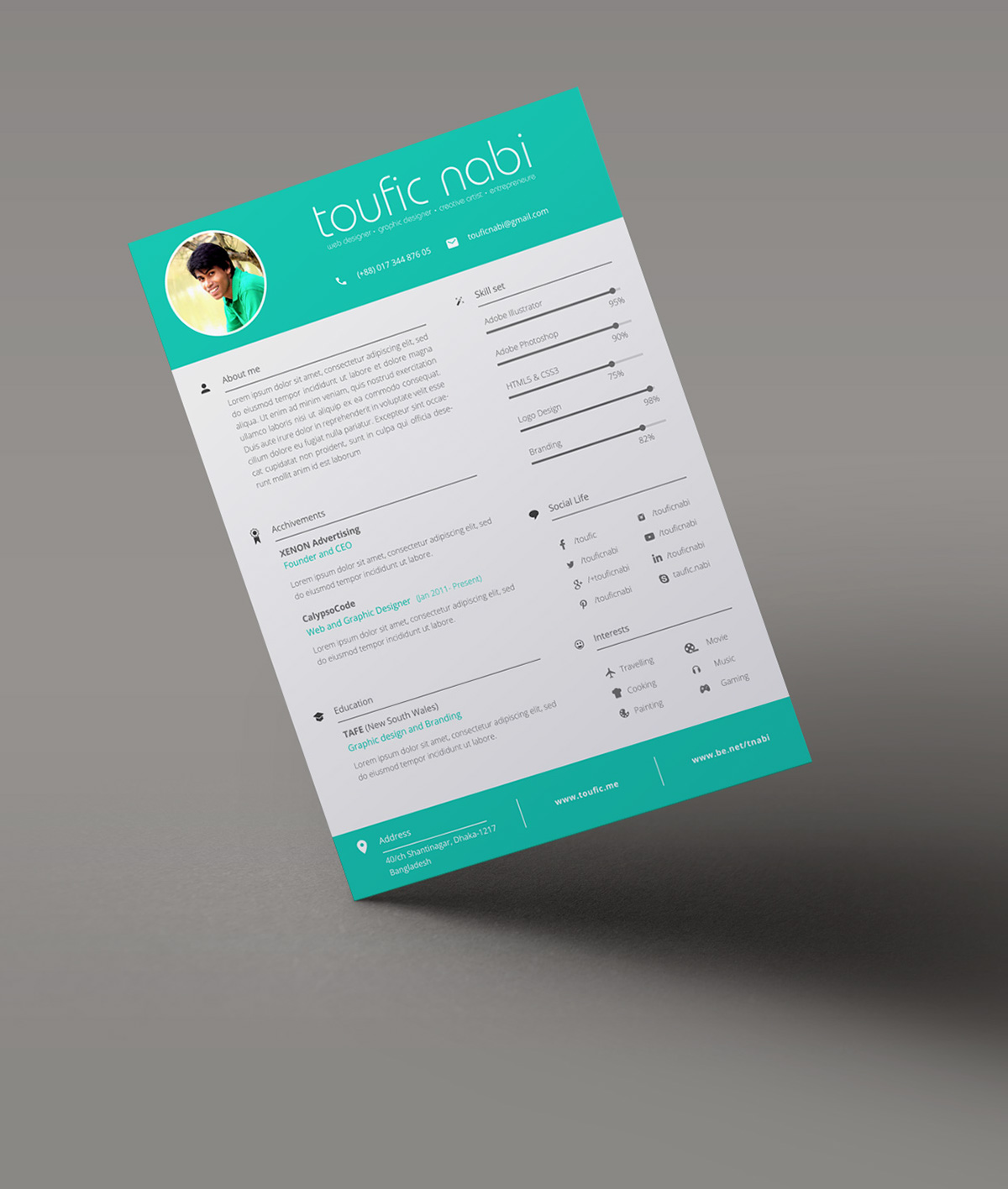 Resume,CV,colorful,designer,graphic,freebie,download,Personal Info,free,tamplate,Creative Resume,UI/UX Designer ,clean,modern,elegant