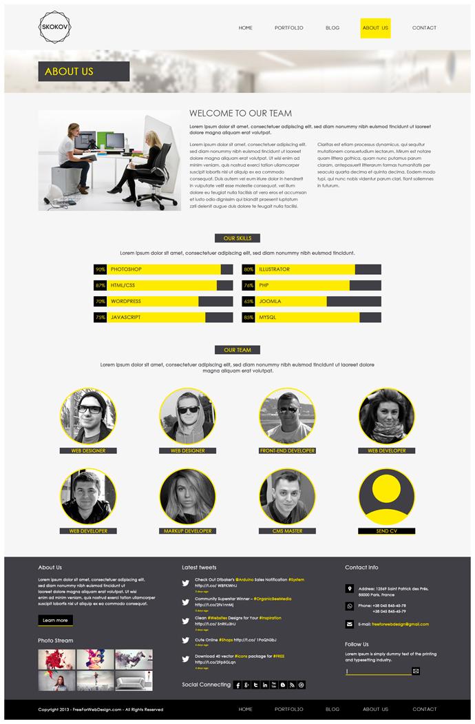 SKOKOV - Free Corporate Web Design Template PSD on Behance