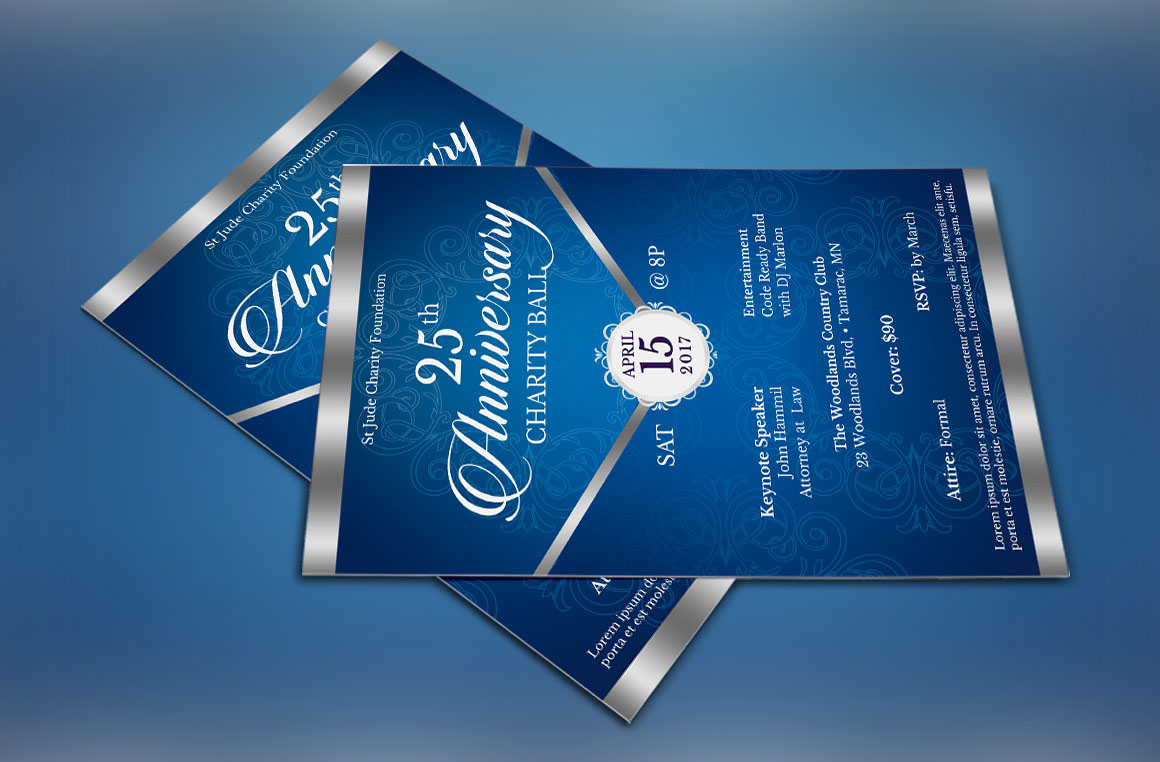 blue silver anniversary gala flyer publisher template on