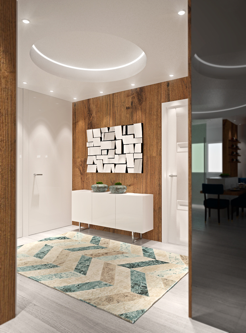 Interior modern Space  blue circles apartment bright cinema 4d photoshop family