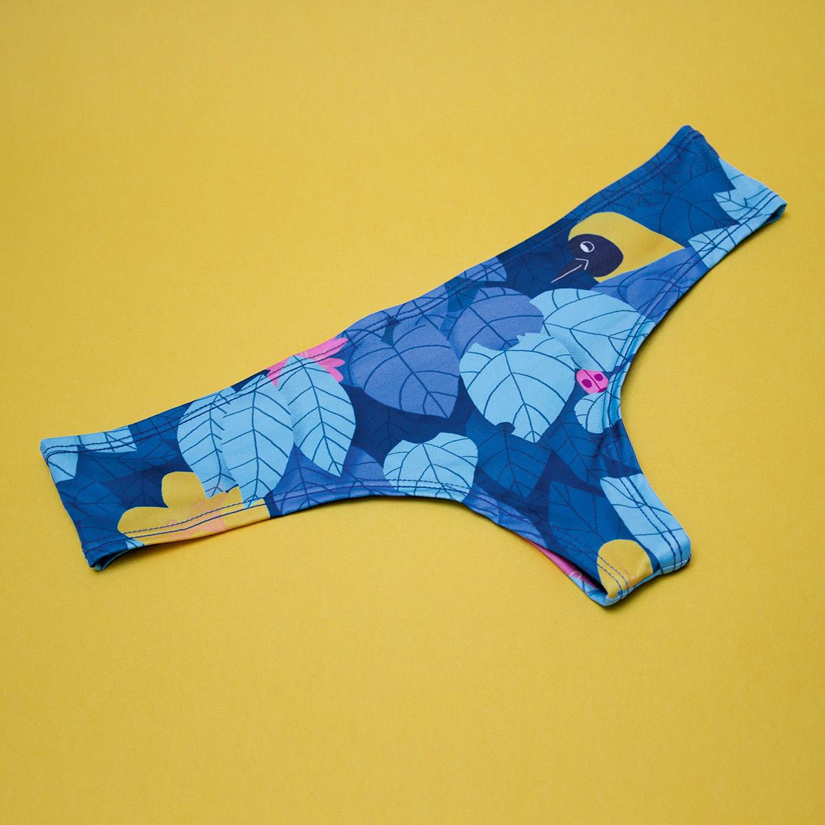 guardabosques underwear Ropa Interior pompavana Fungi jungle birds aves watercolor leaves
