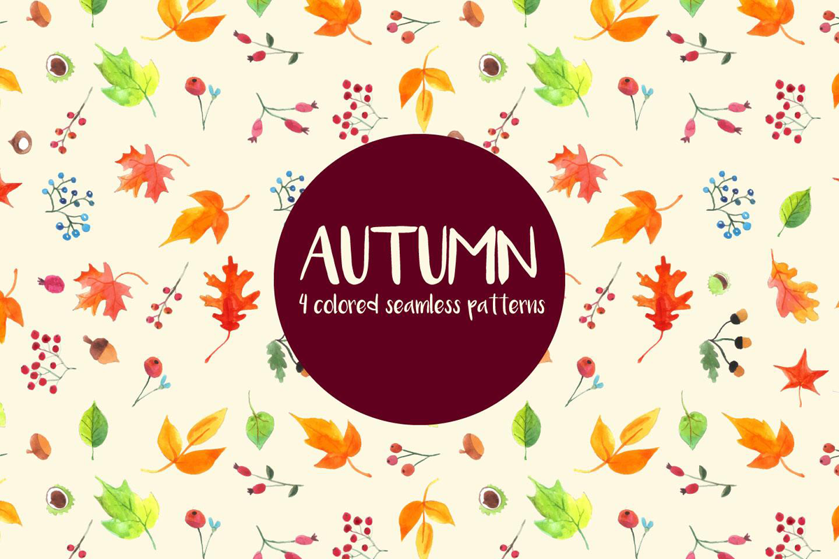 Watercolor Autumn Vector Free Seamless Pattern on Behance