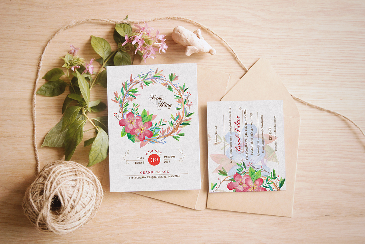 Hằng + Kiên watercolor wedding invitation on Behance