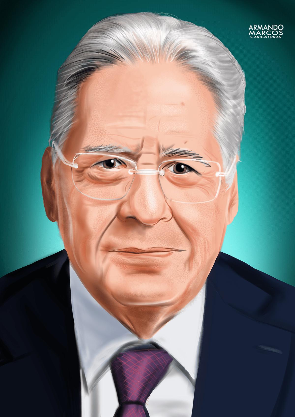 caricatura digitalart editorial Fernando Henrique Cardoso FHC Ilustração Ilustrattion Politica retrato