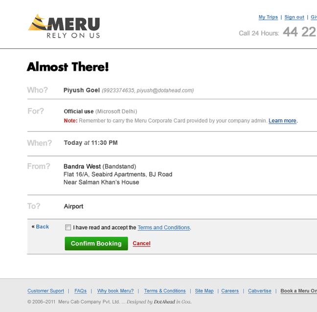 meru cabs Booking online form design india web design india taxi Online Booking user interface application mobile design mobile