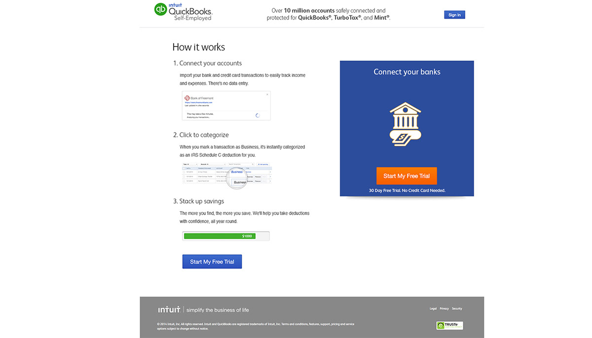 Intuit Quickbooks Self Employed Web Design on Behance