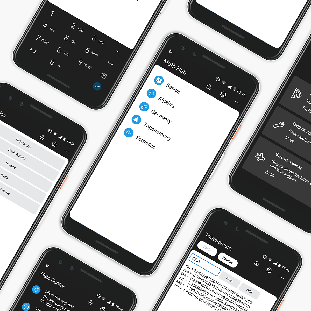 app aplication android math math hub Minimalism UI ux rounded mobile
