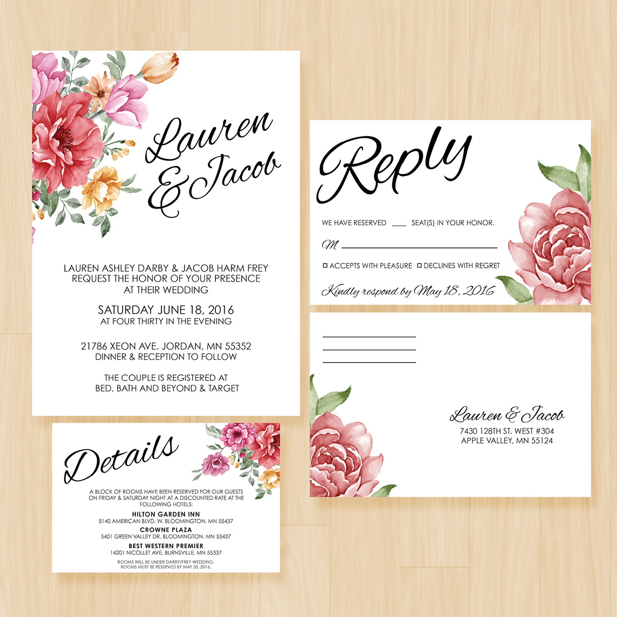 Lauren jacobs wedding invitation suite on behance thank you kristyandbryce Images