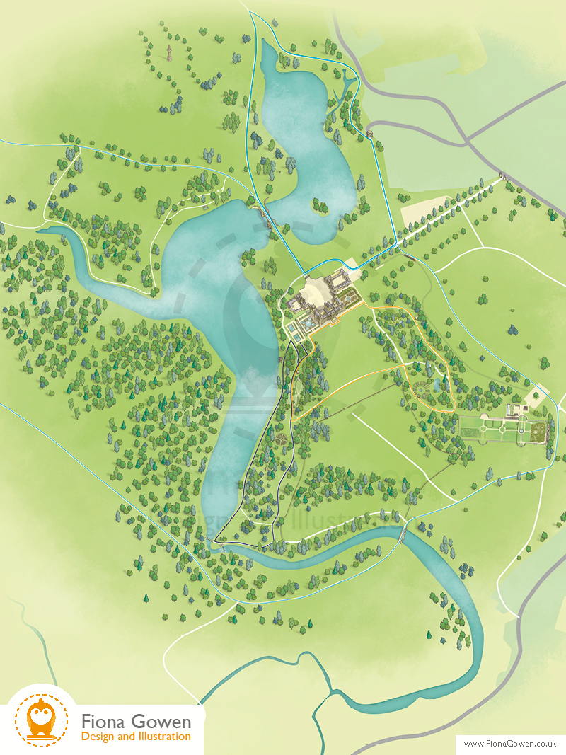 Blenheim palace illustrated interactive visitor map by Fiona Gowen