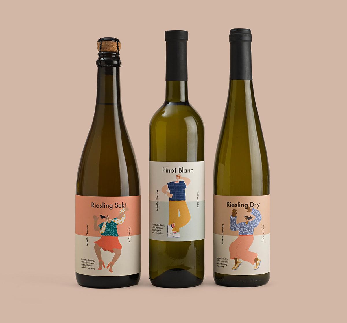 2D bottle Character design ILLUSTRATION  Label Packaging wine