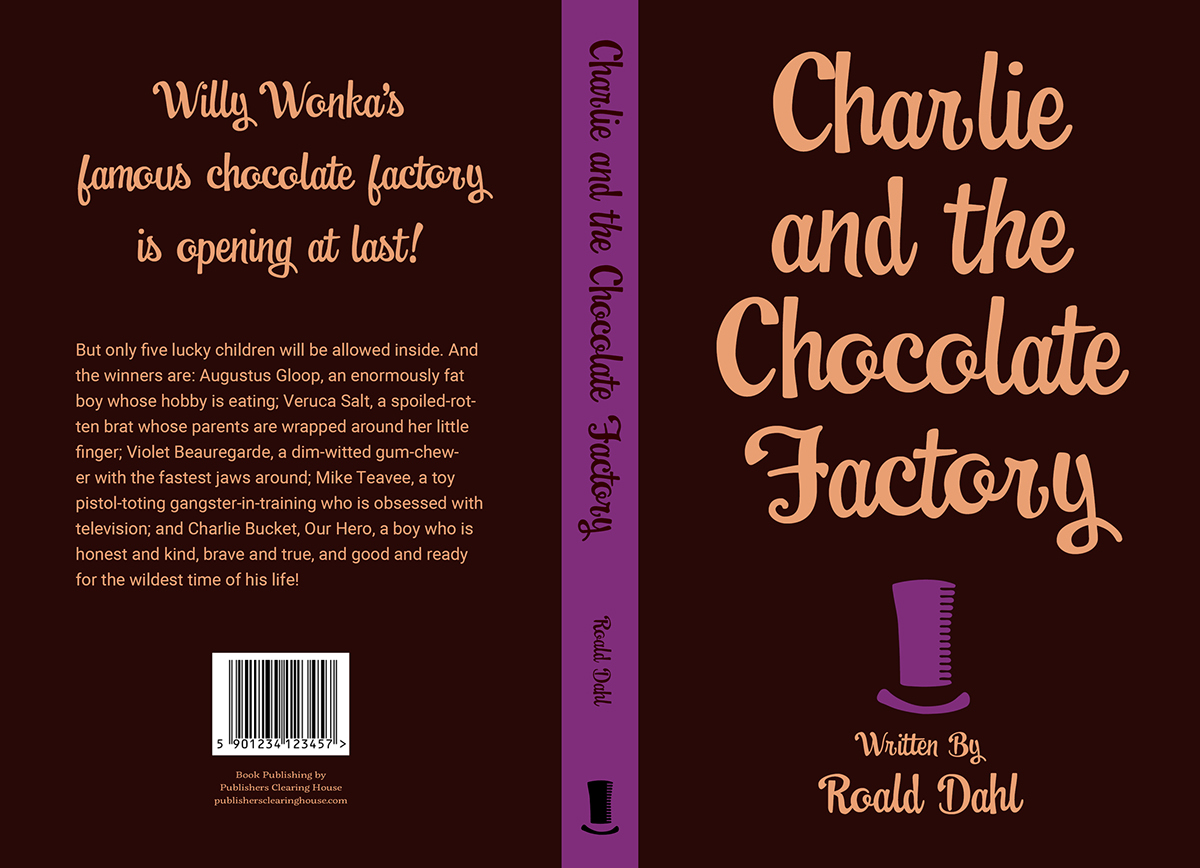 Charlie and the Chocolate Factory book cover spread on Pantone