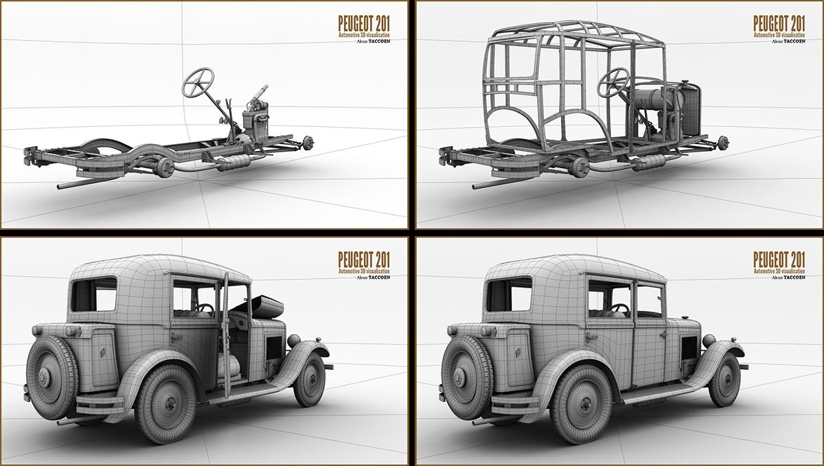 Peugeot 201 3d on behance modeling in autodesk maya softimage malvernweather Images