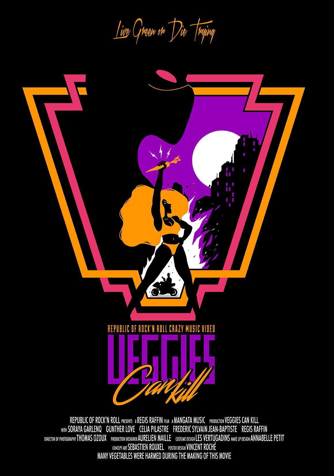 veggies can kill Poster Design dark eighties