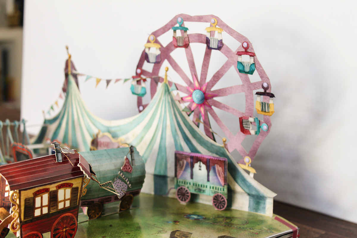 Popup paper art paper engineering Circus Carnival childrens book novelty book ILLUSTRATION  watercolor freakshow