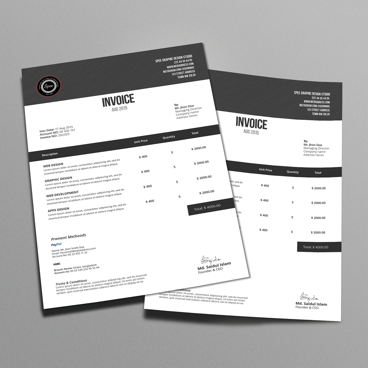 Minimalist Invoice Template Design On Behance - Invoice template design