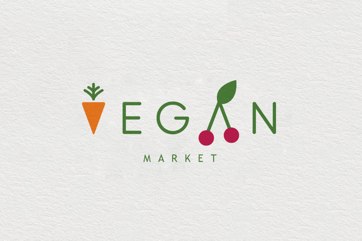 logo Nature vegan fruits vegetables market healthy Food  life eco