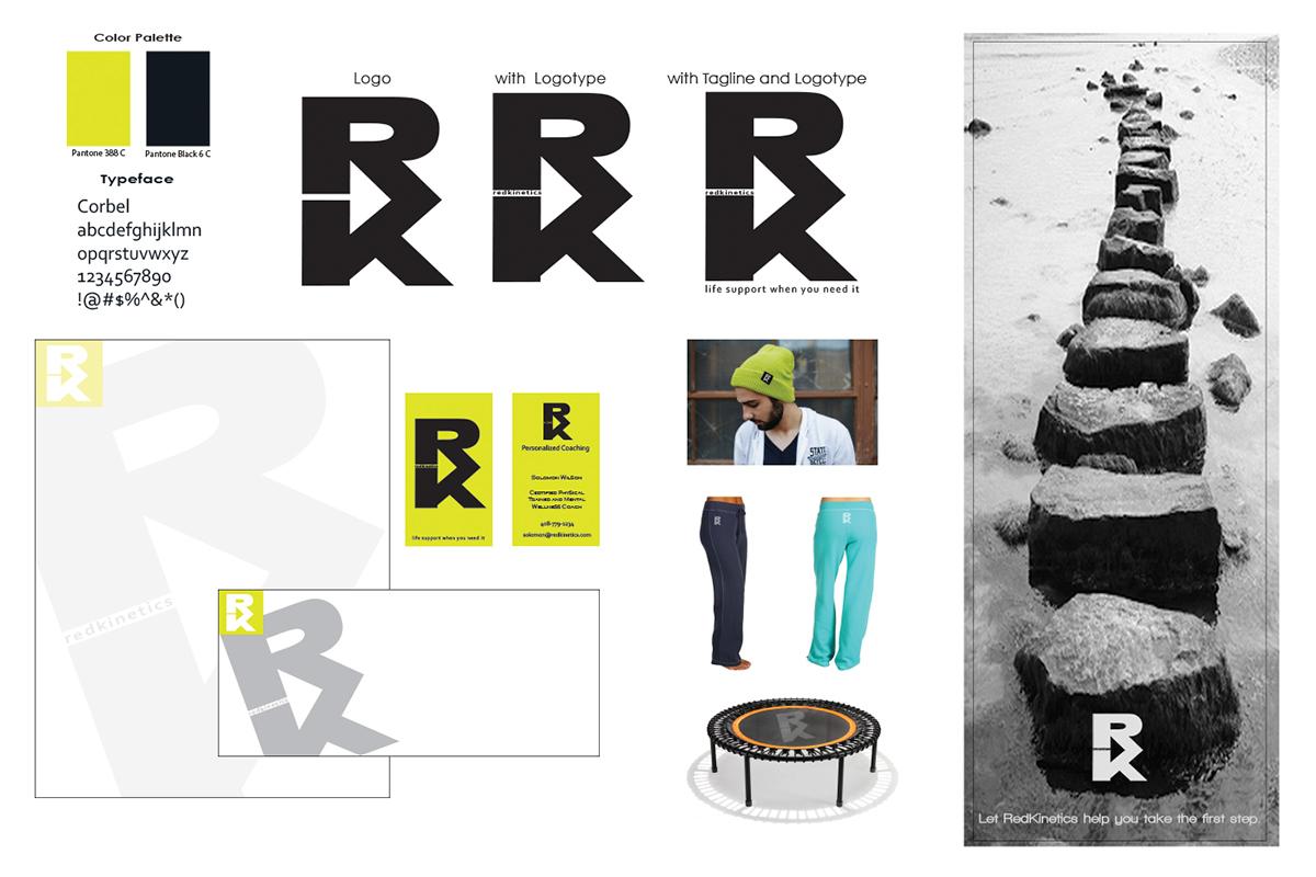 logo design presentation board for redkinetics on behance
